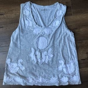 Loft tank top with white embroidery